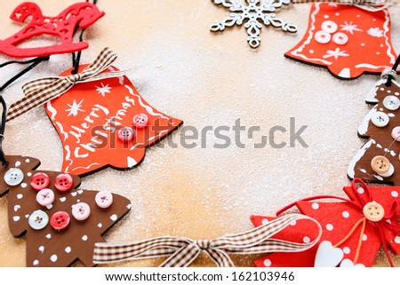 Wooden Christmas Decorations, red and brown