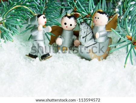 wooden christmas toys - stock photo
