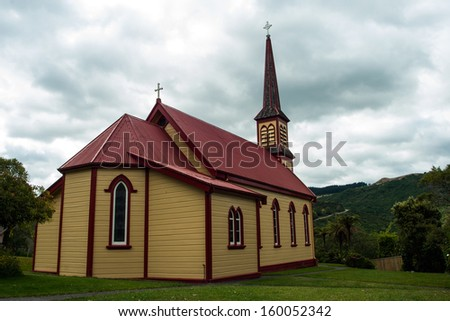 Wooden church in Jerusalem, North Island, New Zealand - stock photo