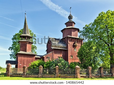 Wooden church of the Apostle John on Ishna river in Rostov, Russia - stock photo
