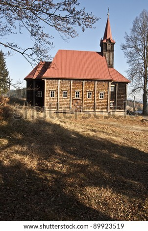 wooden church on Grún in Beskydy Mts. - stock photo