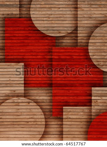 wooden circles and rectangles used as background - stock photo