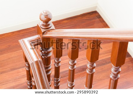 wooden clean staircase  - stock photo