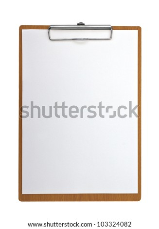 wooden Clip board and paper - stock photo
