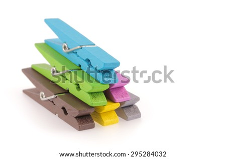 Wooden clip isolated on white background