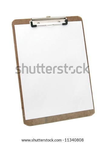 wooden clipboard and blank paper - stock photo