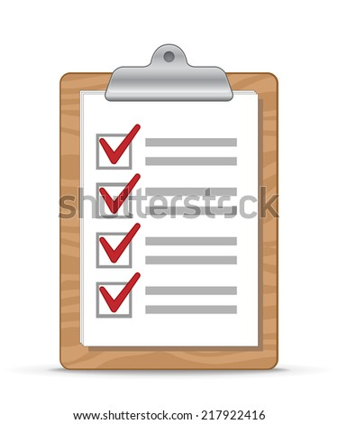 Wooden clipboard with a sheet of paper. Checklist. Raster Illustration - stock photo