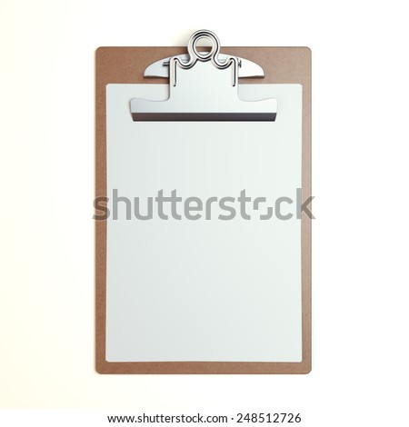 Wooden clipboard with blank sheet isolated on a white background