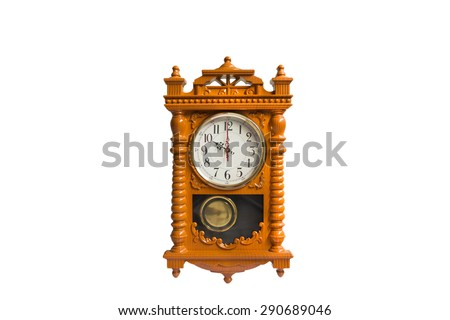 Wooden clock at 10.00 am/pm - stock photo