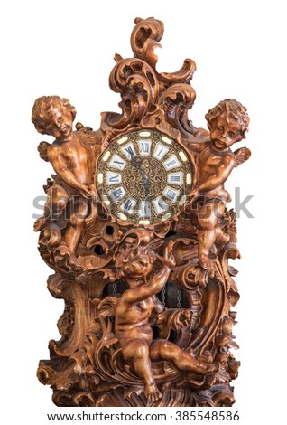Wooden clock carved little angel on a white background - stock photo