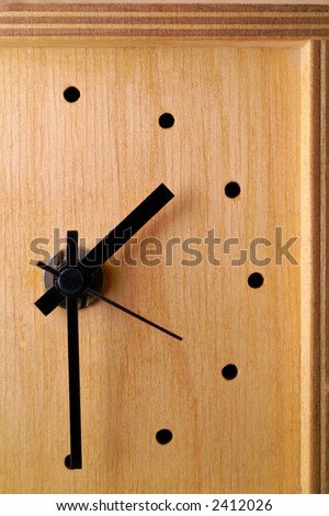 Wooden clock closeup
