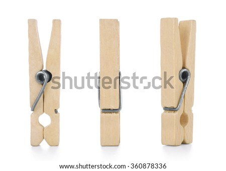Wooden cloth pegs, isolated on white background - stock photo