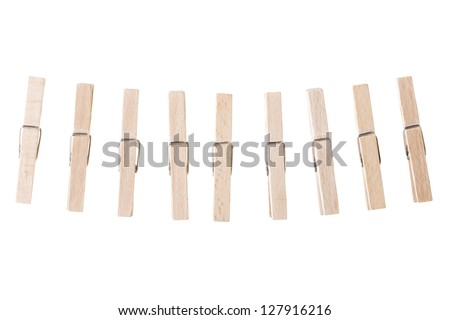 Wooden clothespin isolated on white - stock photo