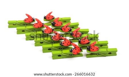 Wooden clothespins. Microstock photography for over a white background - stock photo