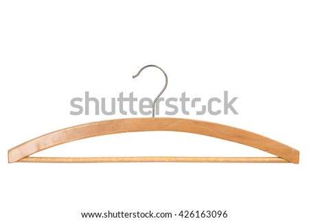Wooden clothing hanger isolated over white background - stock photo