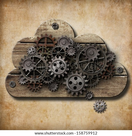 wooden cloud with rusty gears attached to grunge background - stock photo