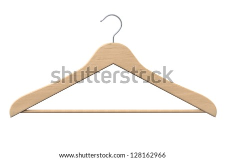 Wooden coat hanger on a white background