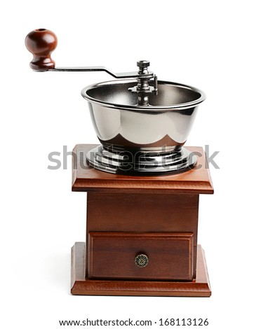 Wooden coffee grinder in a retro style isolated on white background.