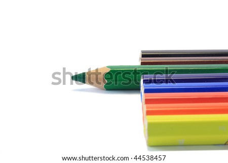 wooden color pencil with focus on green