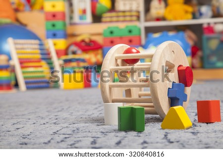 wooden color toy in room for children - stock photo