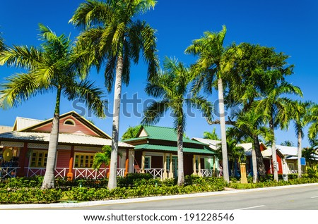 Wooden colored houses very popular in the Caribbean Islands, ideal for holidays  - stock photo