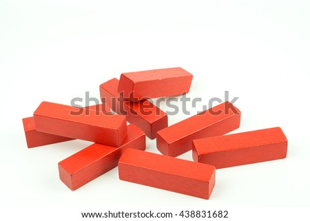 Wooden colorful bricks isolated on white background. Wooden toy building blocks