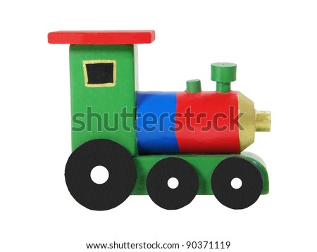 Wooden colorful locomotive isolated on white background - stock photo