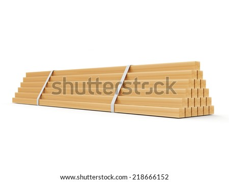 Wooden Construction Planks isolated on white background - stock photo