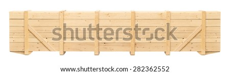 wooden container on a white background - stock photo