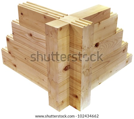 Wooden Cottage Corner Model Isolated with Clipping Path - stock photo