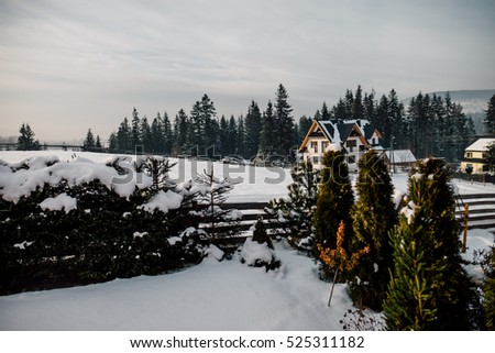 Wooden Cottage House Window. Beautiful snowy winter morning behind the log chalet window. Beautiful mountain view. Sunshine and sparkling snow on frosty cabin backyard.