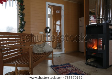 Wooden Cottage Interior With New Year And Christmas Decoration Fire Place Big Panoramic Windows