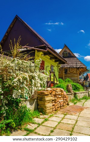 Wooden cottages in beautiful Vlkolinec traditional village in Slovakia, Eastern Europe  - stock photo