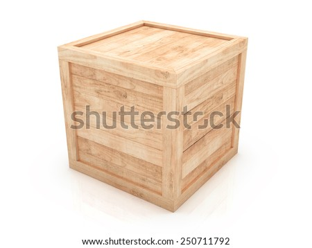 Wooden crate 3d illustration isolated on white background - stock photo
