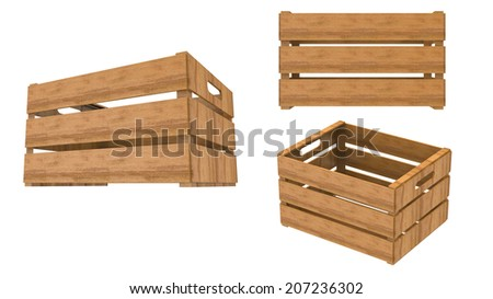 Wooden crate empty perspective and front Isolated on White Background.Easy editable for your design.  - stock photo