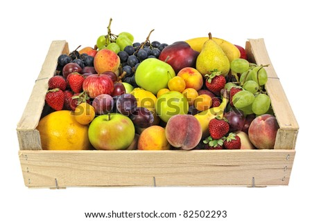 wooden crate full of fruit - stock photo