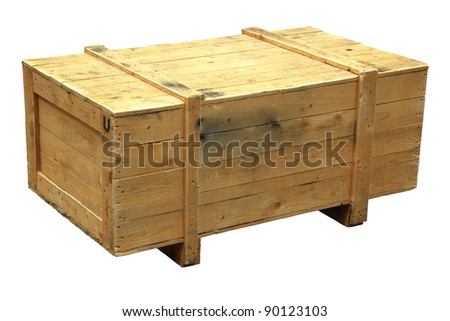 Wooden crate isolated on a white background - stock photo