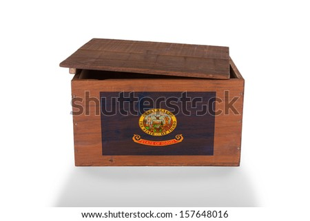 Wooden crate isolated on a white background, product of Idaho