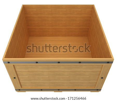 wooden crate. isolated on white background. 3d