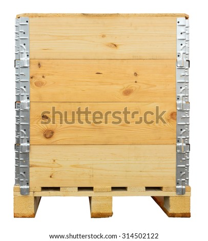 Wooden crate isolated on white. Clipping path included. - stock photo