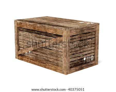 wooden  crate on isolated background