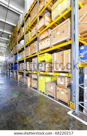 Wooden crates for shipping in museum warehouse