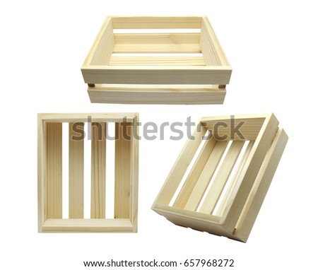 Wooden Crates Isolated With White Background Part 56
