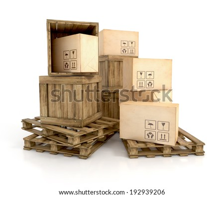 wooden crates on pallets with cardboard boxes with handle with care sign. 3d render illustration isolated on white background - stock photo