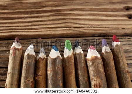 wooden crayons  - stock photo