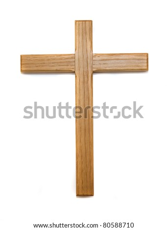 Wooden cross isolated on white background - stock photo