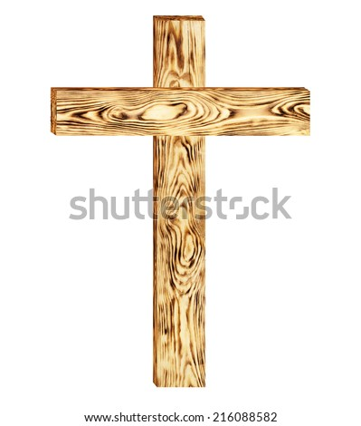 Wooden cross isolated on white background. Clipping Path ...