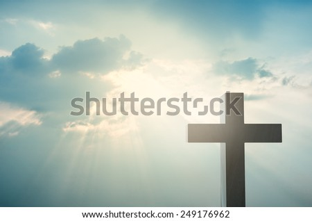 Wooden Cross render against the dramatic sky - stock photo