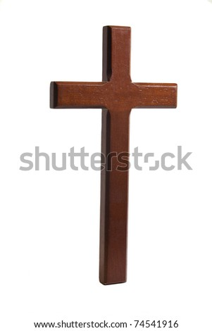 Wooden cross set against a white background - stock photo