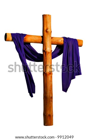 Wooden Cross with Purple Cloth Isolated - stock photo